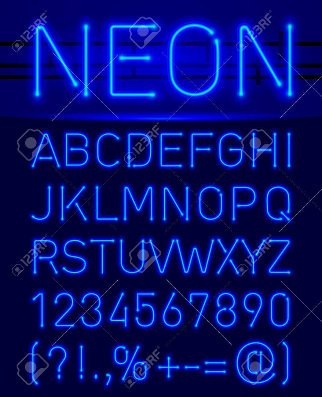 Blue set neon font and symbols isolated on black - 51229367