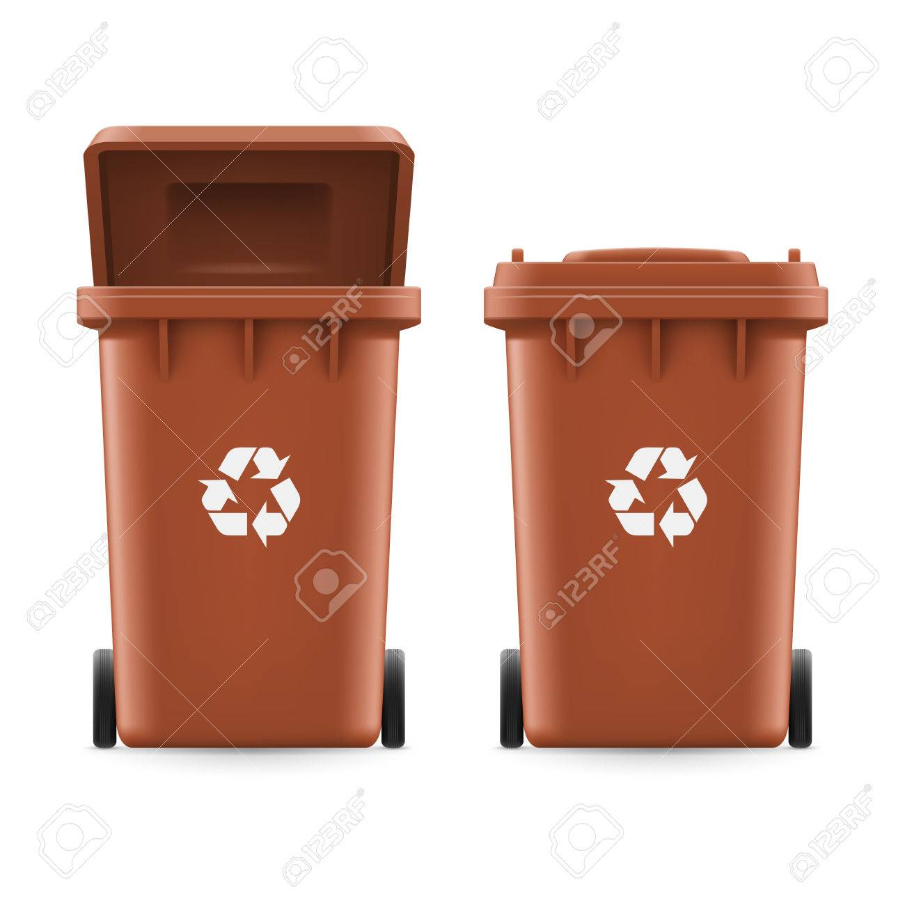 Set of brown buckets for trash with sign arrow - 51364395