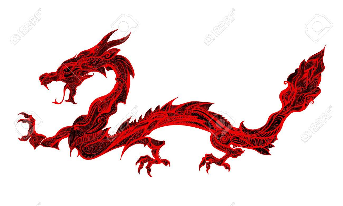 Doodle Red Dragon Isolated On White Background Stock Vector 52984848