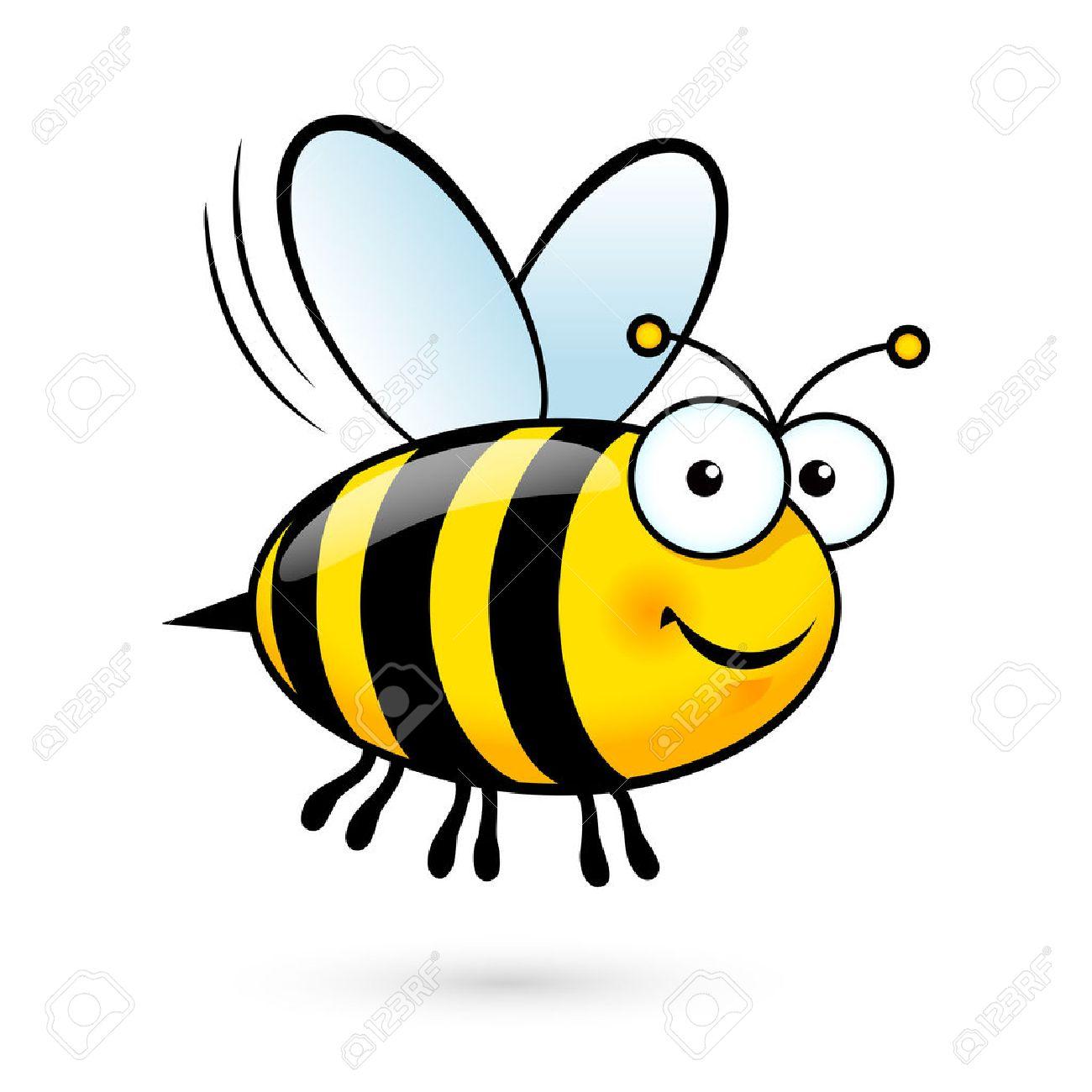 フレンドリーなかわいい蜂飛んで 笑顔のイラストのイラスト素材 ベクタ Image