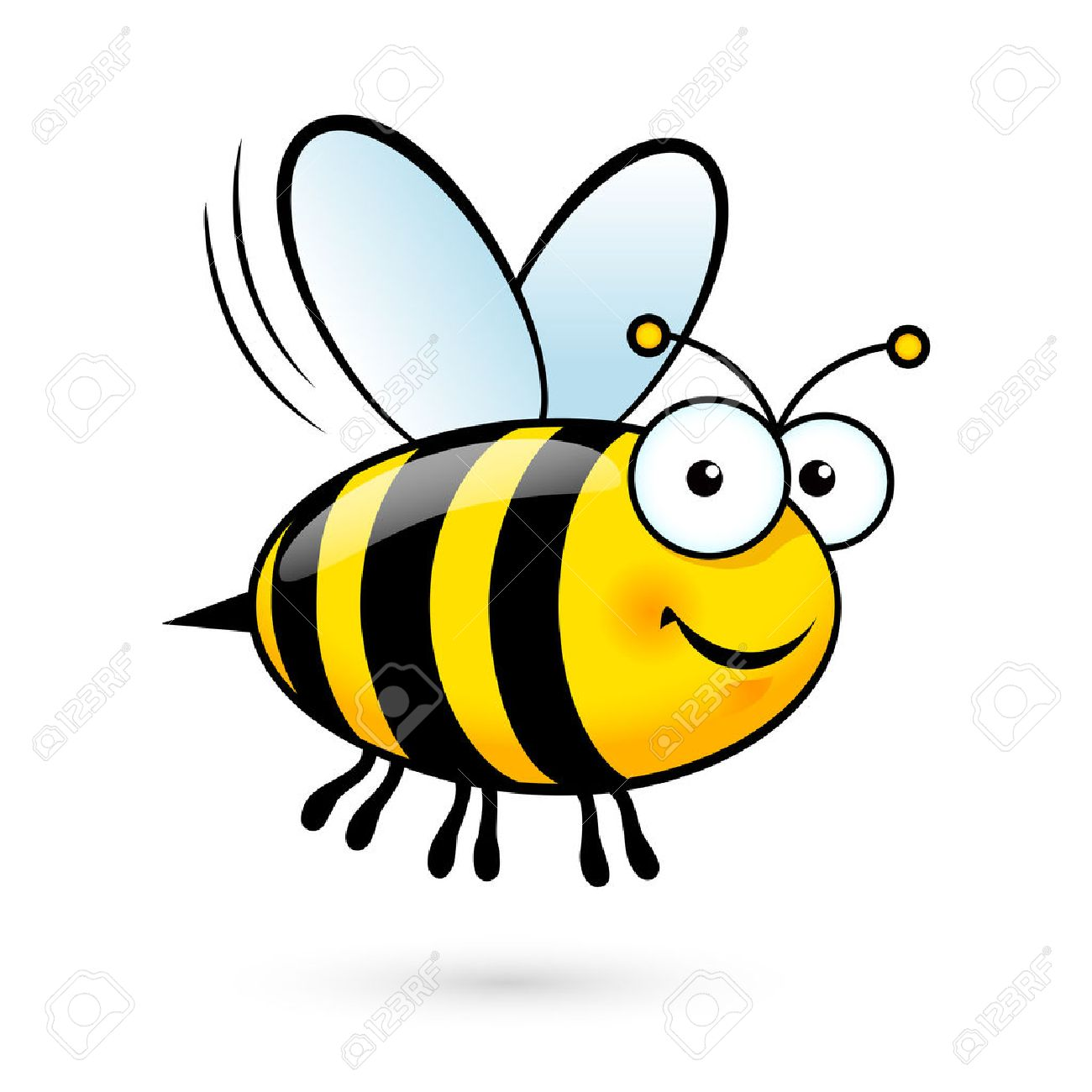 Illustration of a Friendly Cute Bee Flying and Smiling - 52984920