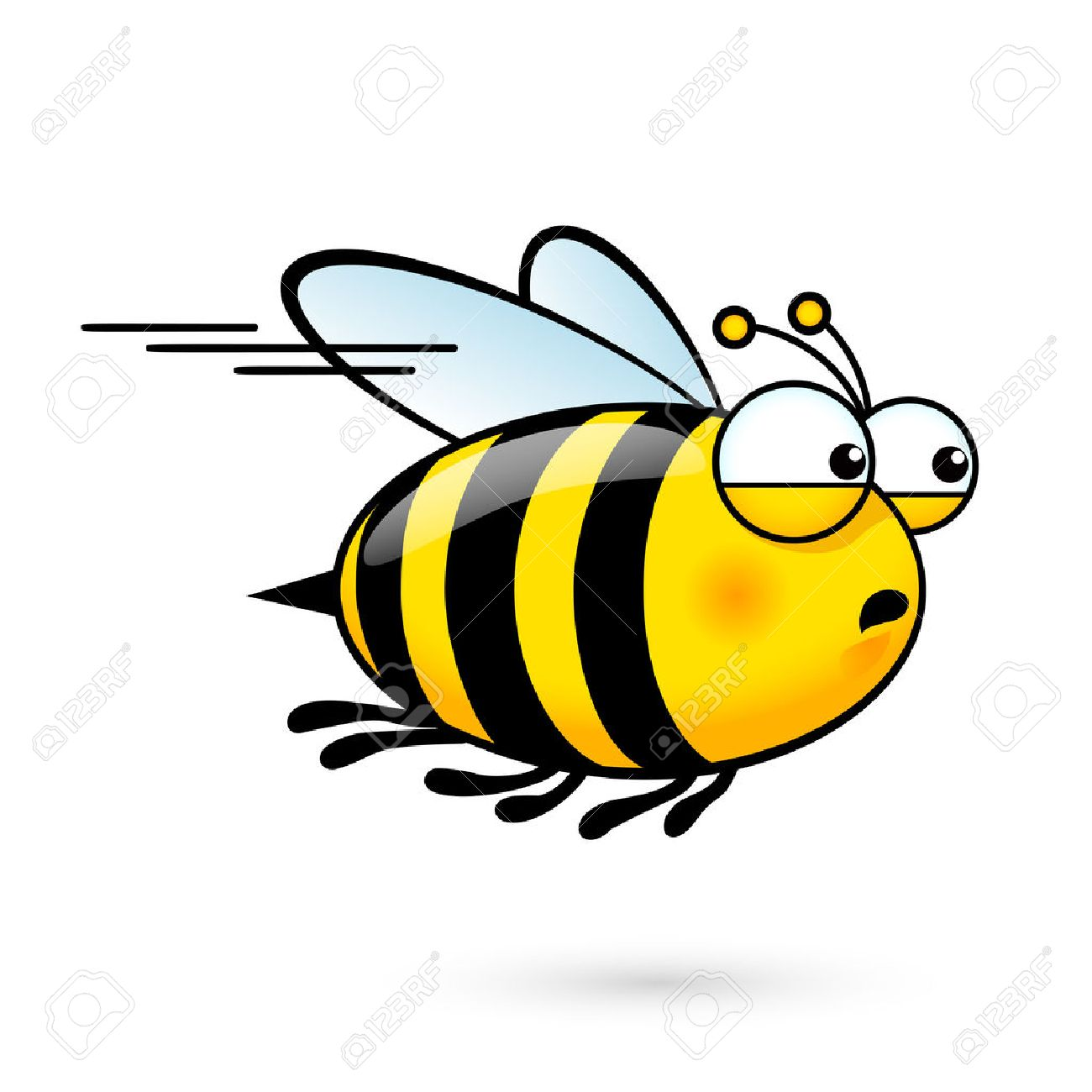 illustration of a friendly cute bee a hurry to visit royalty free