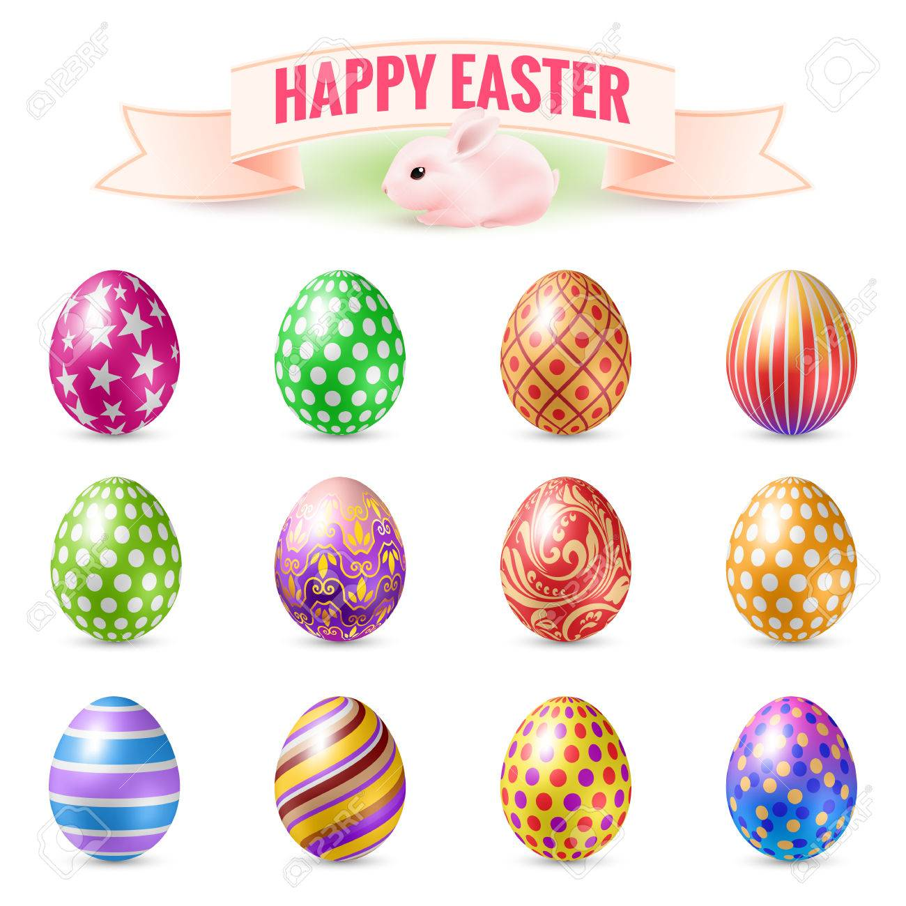 set of vintage easter eggs design templates objects for easter