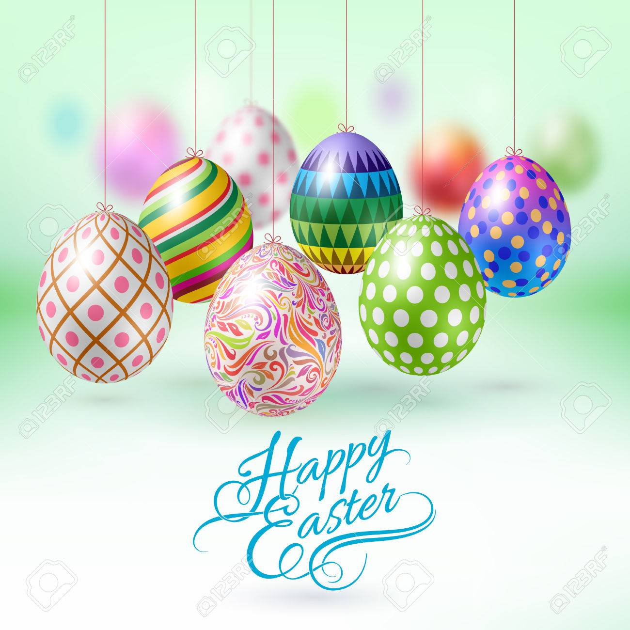 Happy Easter Greeting Card with Hanging Easter Eggs - 53908252