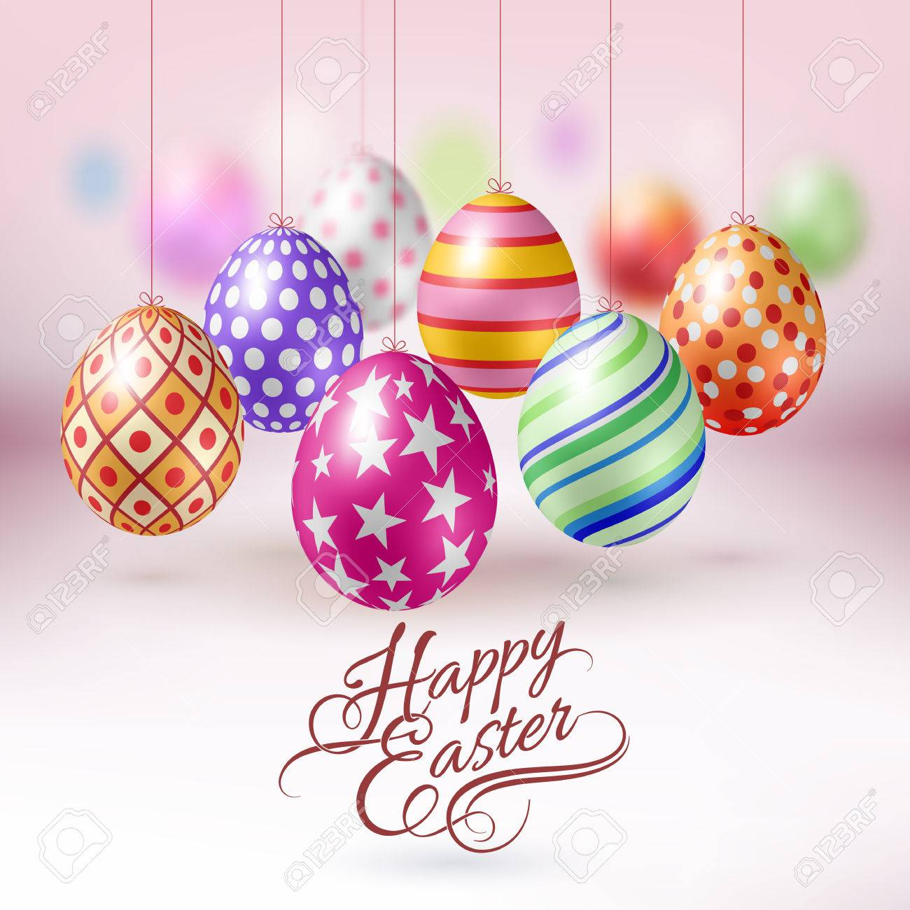 Hanging Easter Eggs With Different Ornaments Easter Background Stock  Vector  53908268