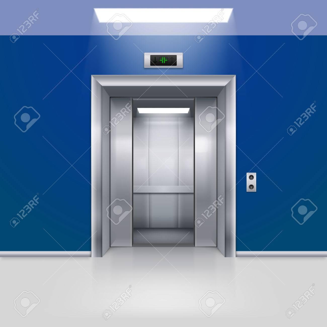 Realistic Empty Elevator With Half Open Door In Blue Lobby Stock Vector    54992768