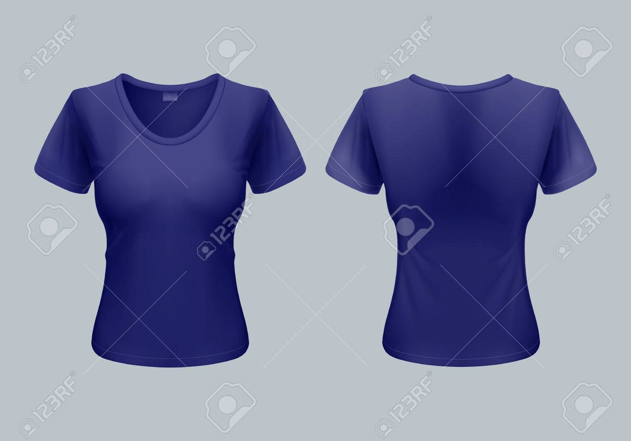 Women T-Shirt Template Back And Front Views In Dark Blue Royalty ...