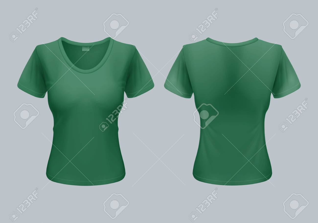 women t shirt template back and front views in green color royalty