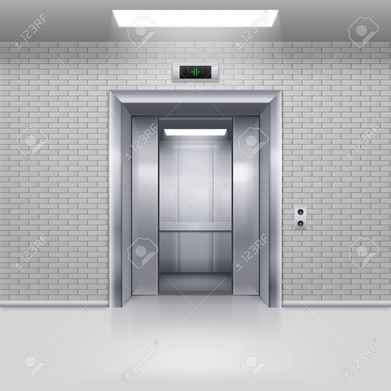 Half Open Chrome Metal Elevator Door In A Brick Wall Stock Photo   55249949