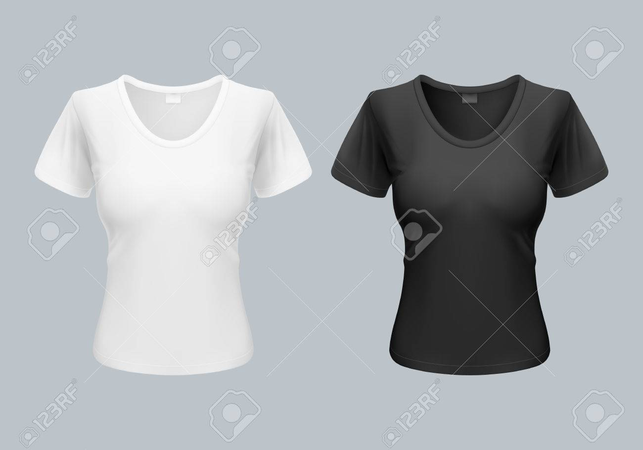 Women T Shirt Template Back And Front Views In Black And White