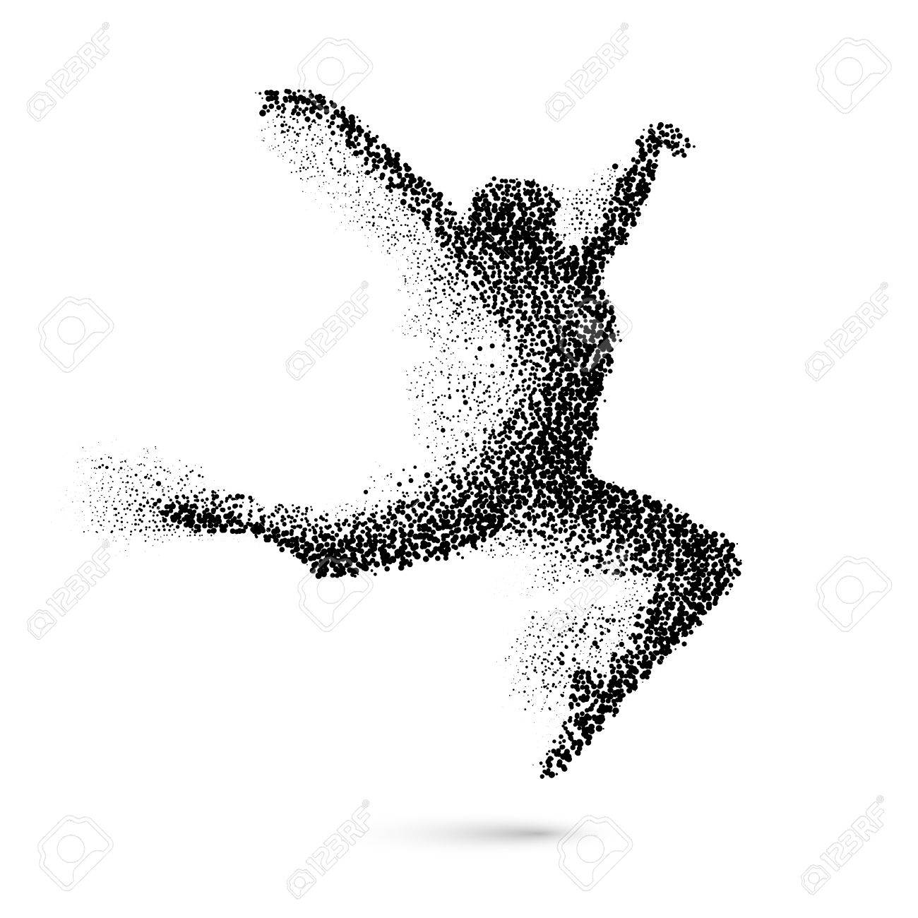Dancing Woman in the Form of Black Particles on White - 56627275
