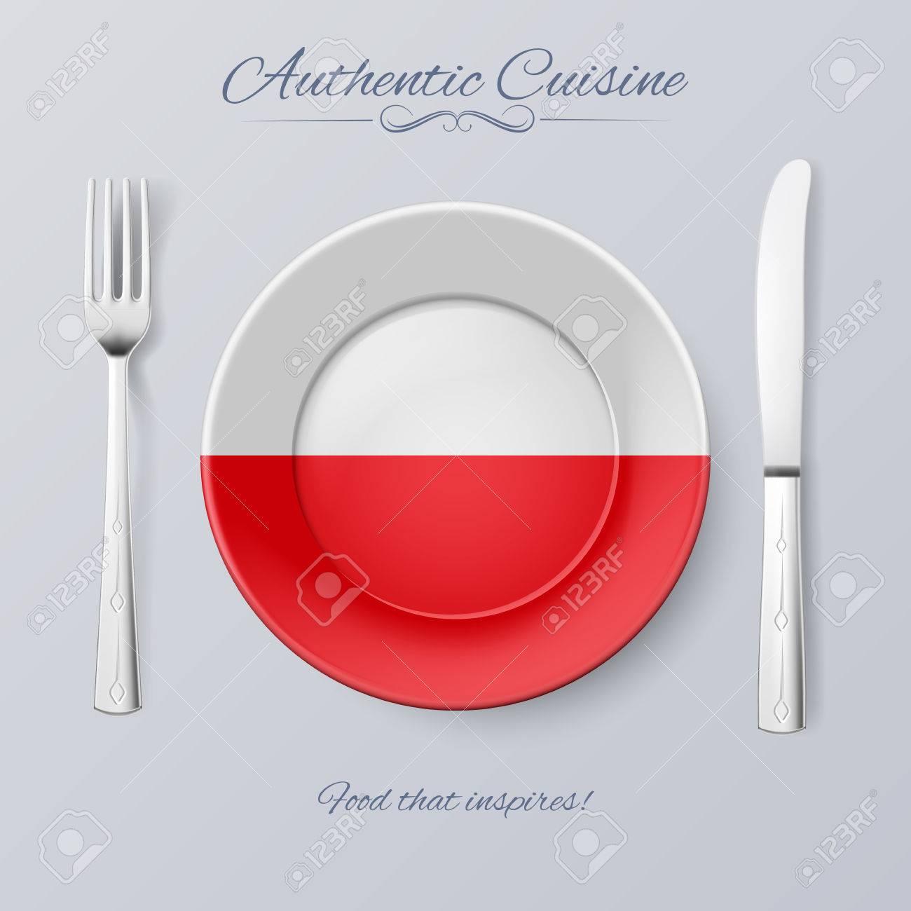 Authentische Küche Aus Polen. Platte Mit Polnischen Flagge Und ...