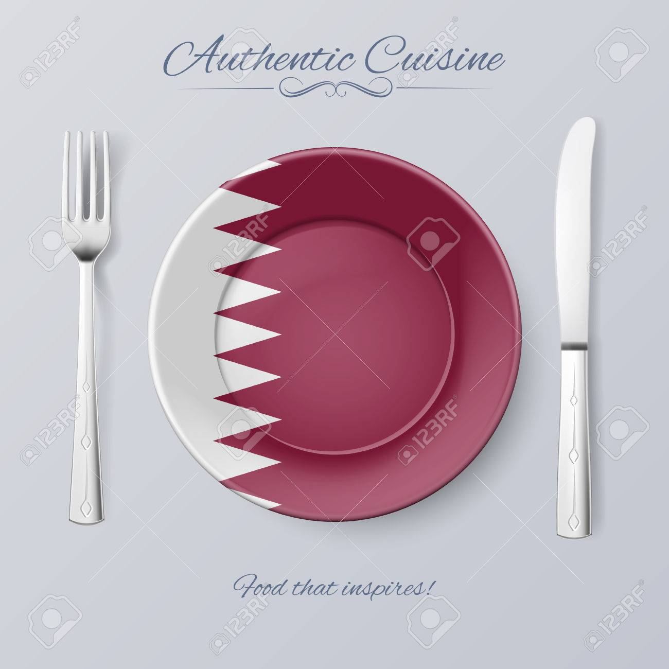 Authentic Cuisine Of Qatar Plate With Qatari Flag And Cutlery