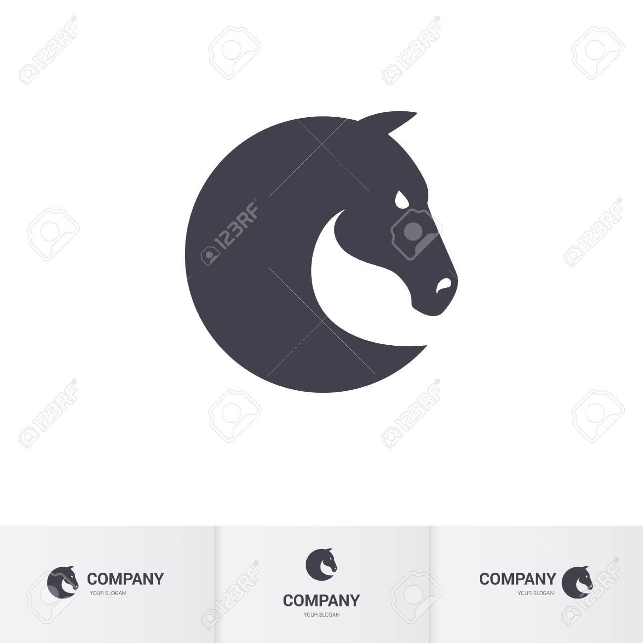simple dark horse head for mascot template stock vector 63919119
