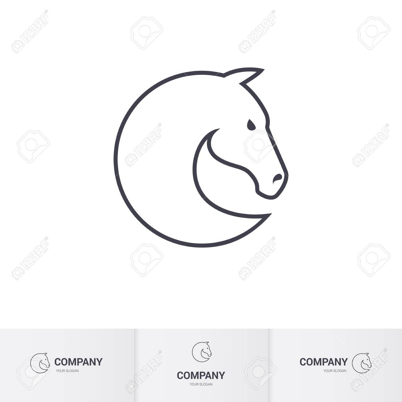 simple horse head for mascot template stock vector 63919192