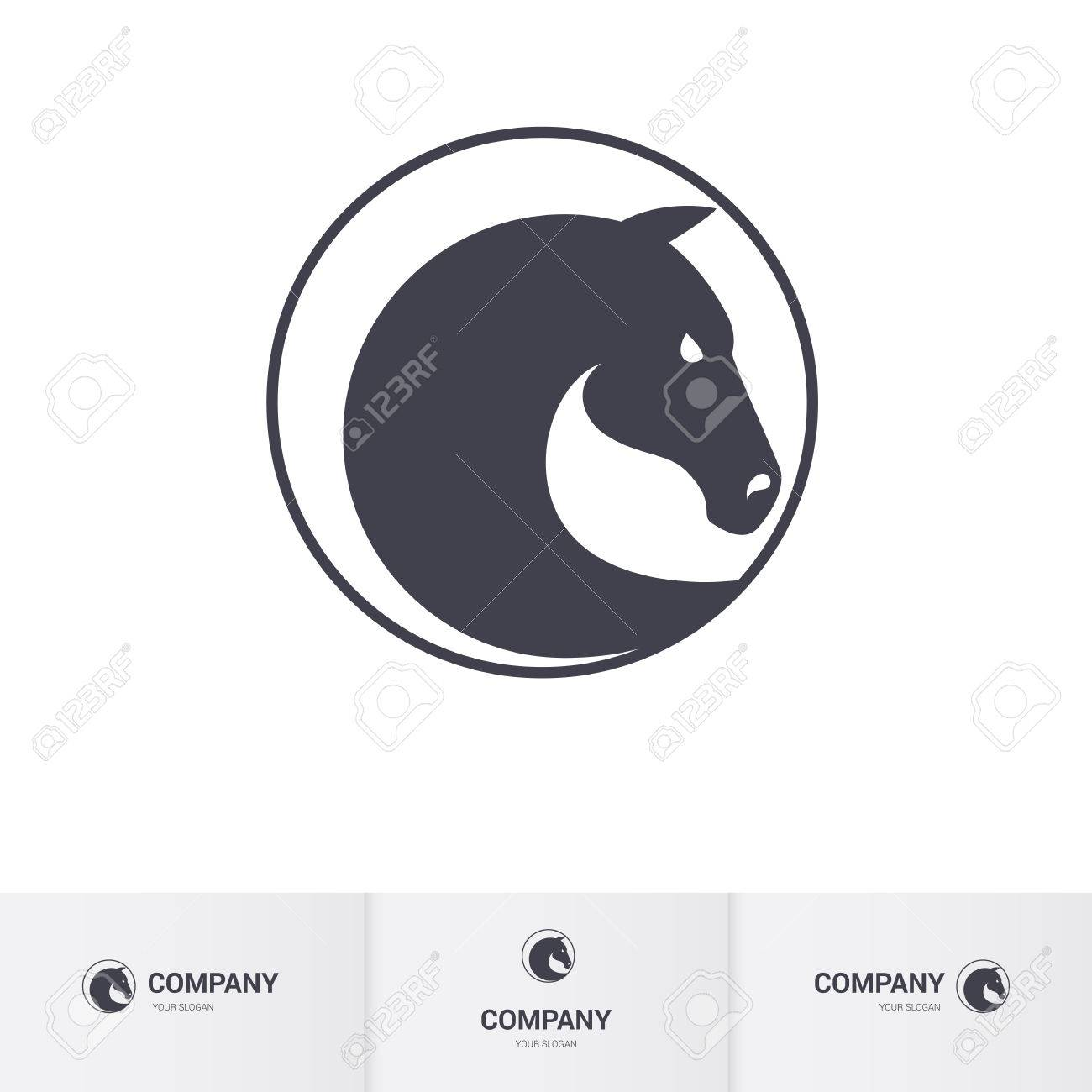 Stylized Dark Horse Head In Circle For Mascot Template Royalty Free