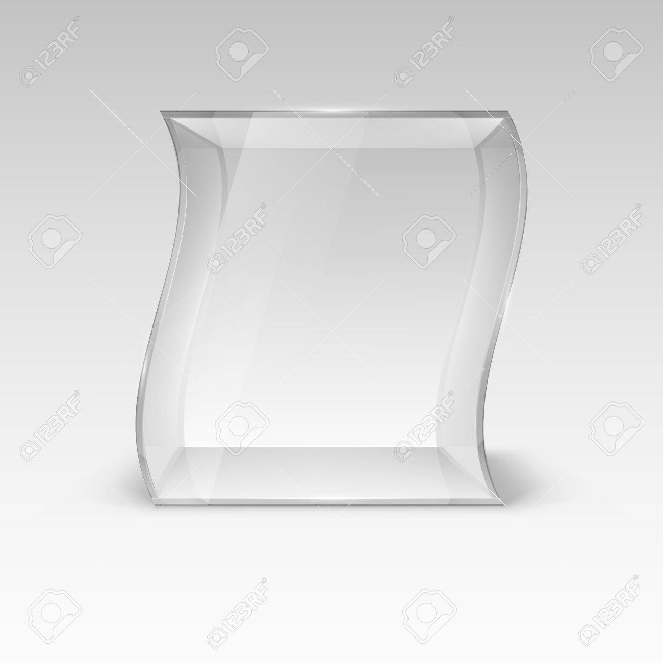 empty glass showcase in wave form for presentation royalty free