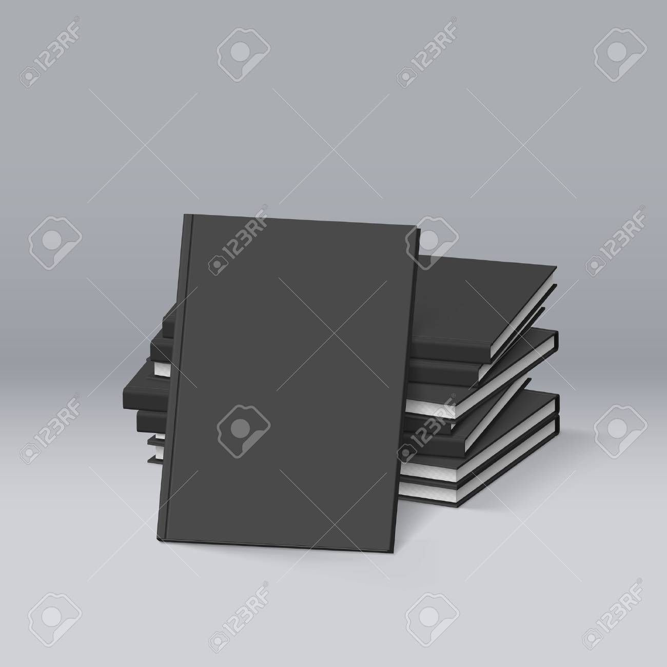 stack of blank black books mockup template for design royalty free