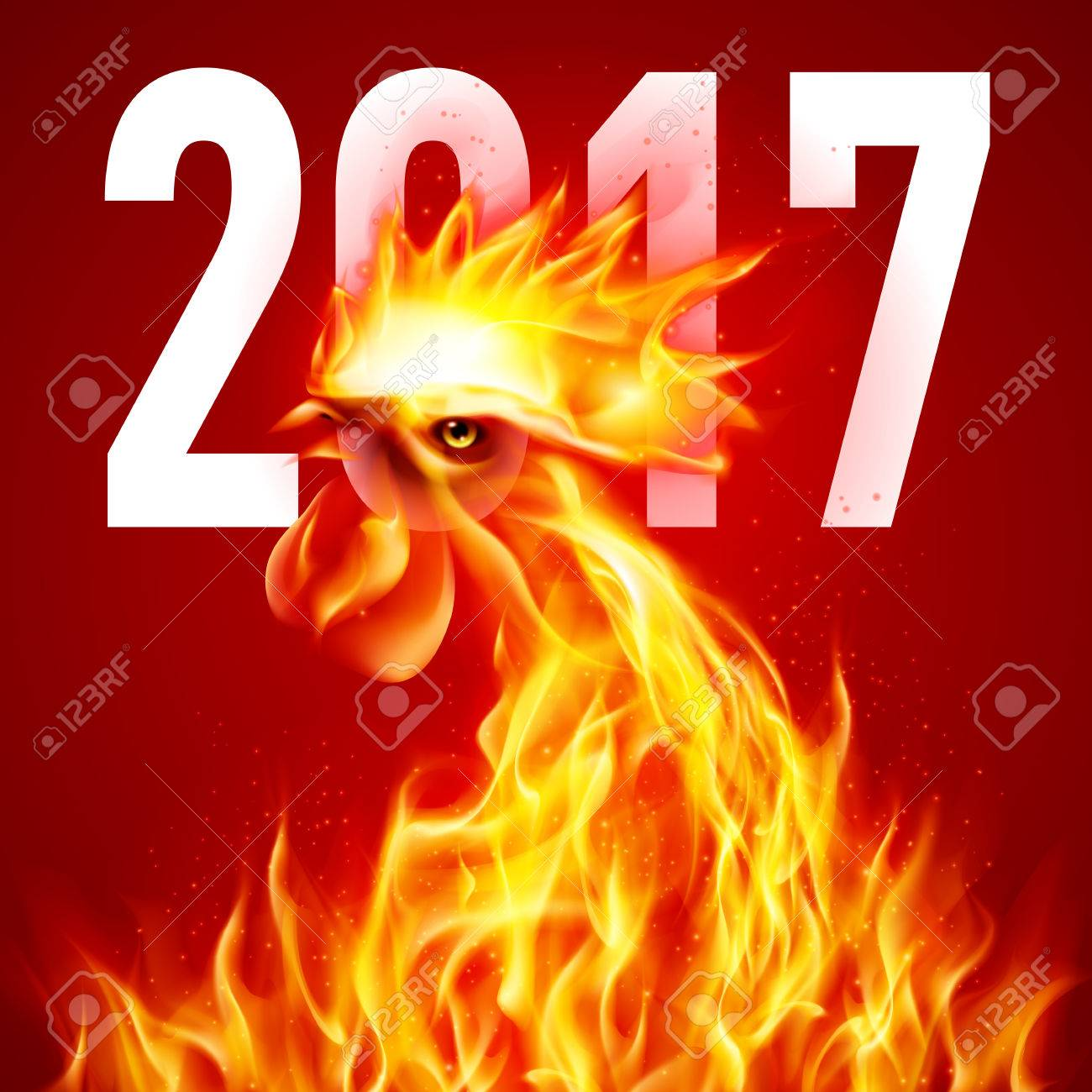 Fire Rooster Symbol Of The New Year By Chinese Calendar Christmas