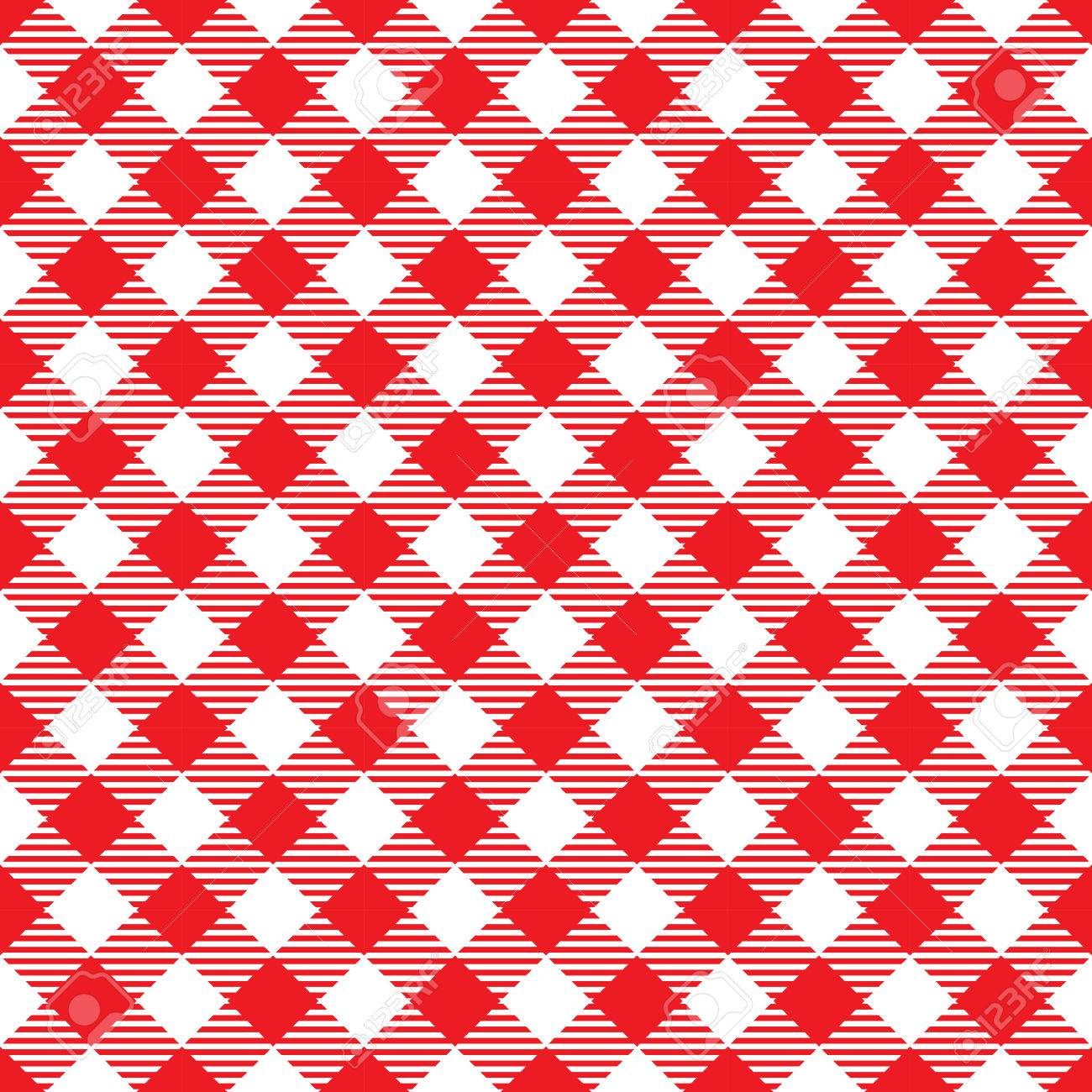 Seamless Red White Traditional Gingham Pattern Fabric Texture For Design Template Stock Vector