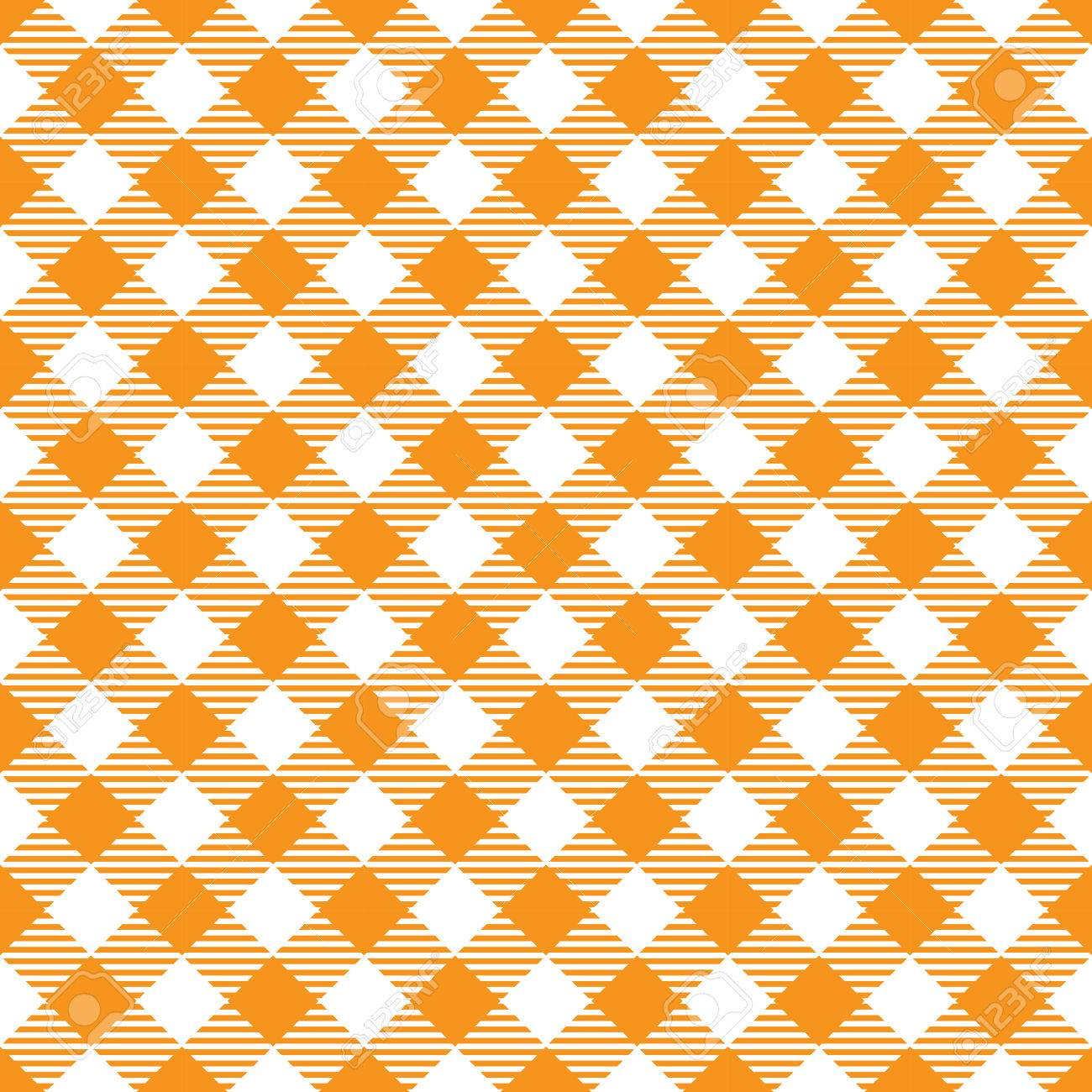 Seamless Yellow White Traditional Gingham Pattern Fabric Texture For Design Stock Vector