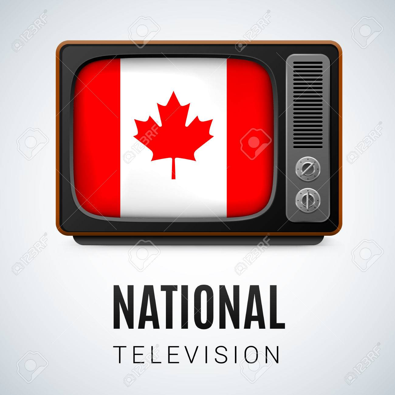 Vintage Tv And Flag Of Canada As Symbol National Television