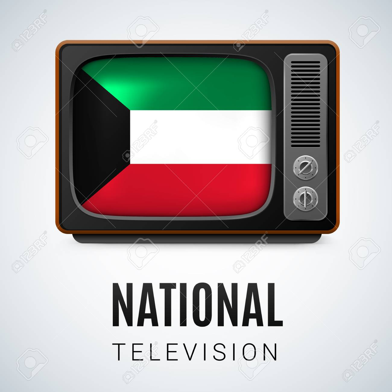 Vintage TV and Flag of Kuwait as Symbol National Television