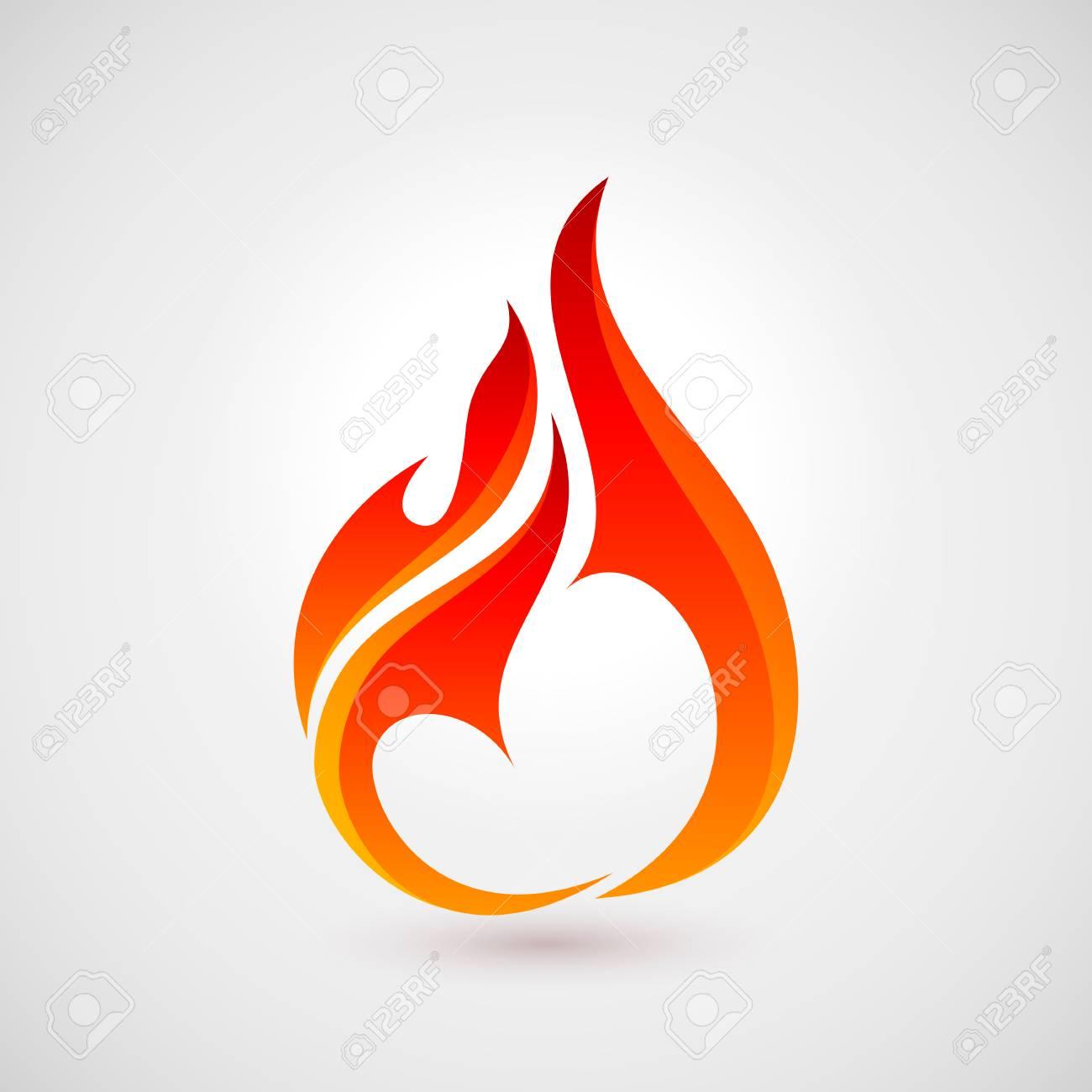 Fire Flames in Heart Shape. Logo Design Template. Icon Illustration for Design - 76324329
