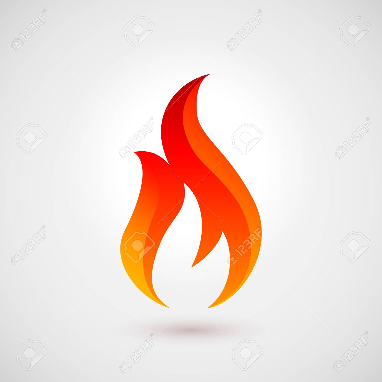 Fire flames. Logo Design Template. Icon Illustration Over Gray..