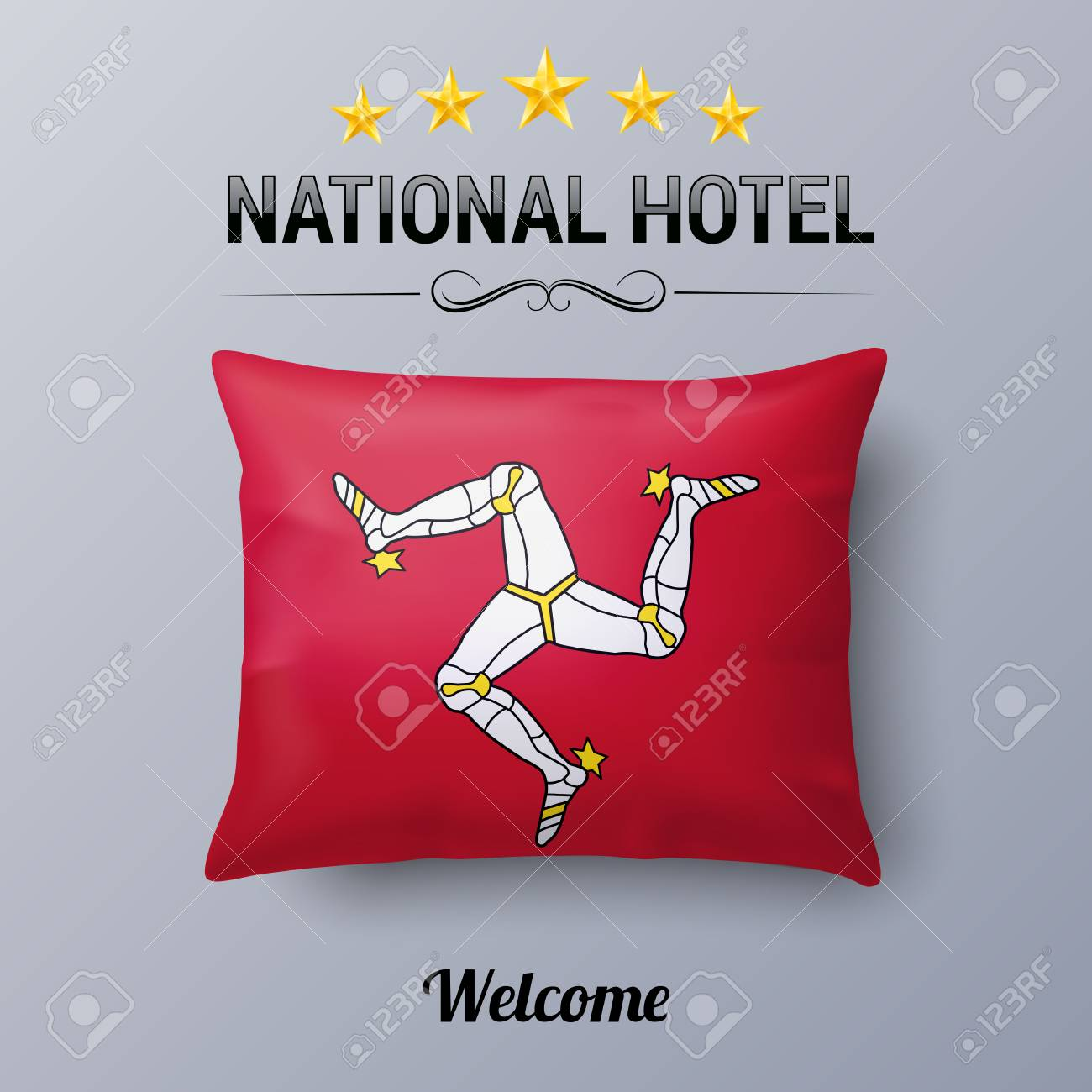 realistic pillow and flag of isle of man as symbol national hotel