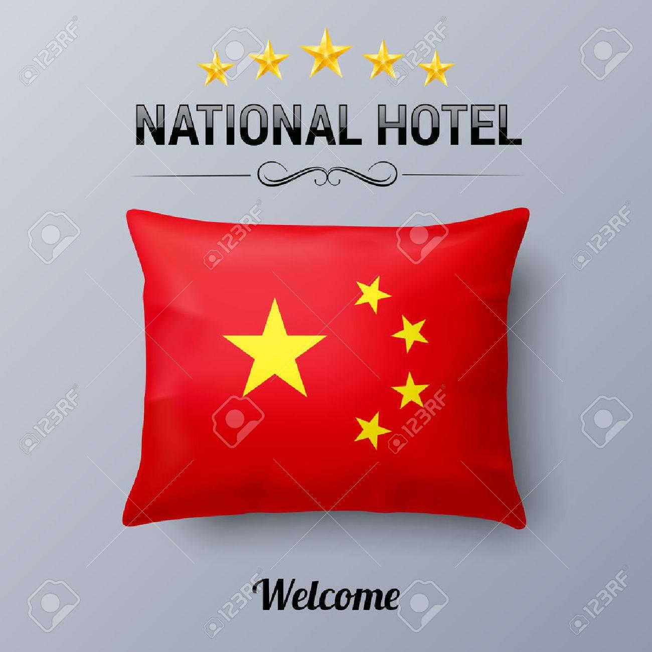 Oreiller Réaliste Et Drapeau De La Chine Comme Symbole National