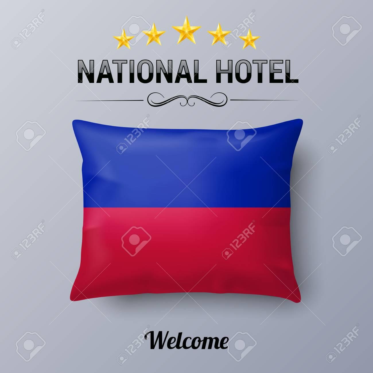 couverture d oreiller Oreiller Réaliste Et Drapeau D'Haïti Comme Symbole National Hotel  couverture d oreiller