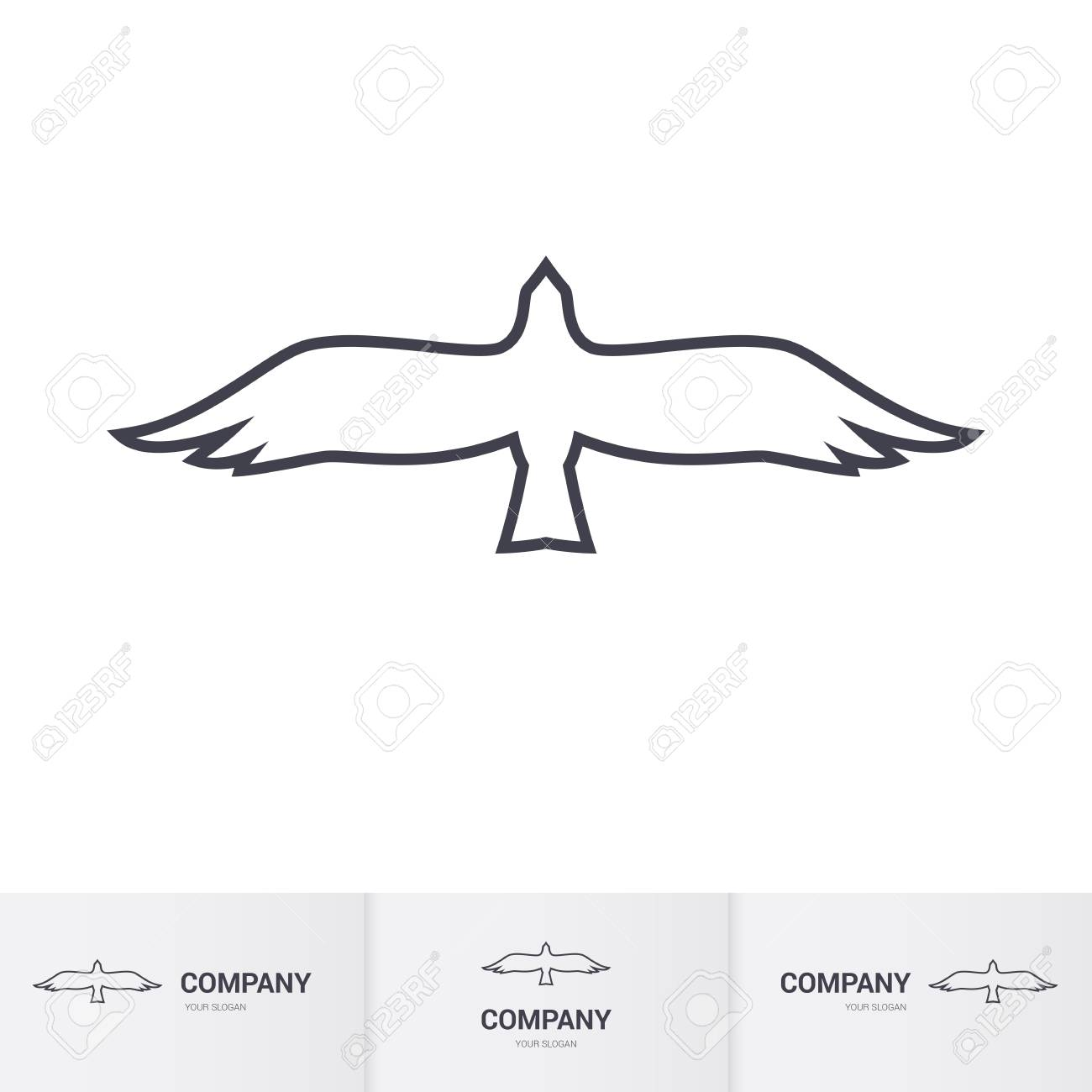 Simple White Bird Of Prey For Logo Template On White Background Royalty Free Cliparts Vectors And Stock Illustration Image 80787966