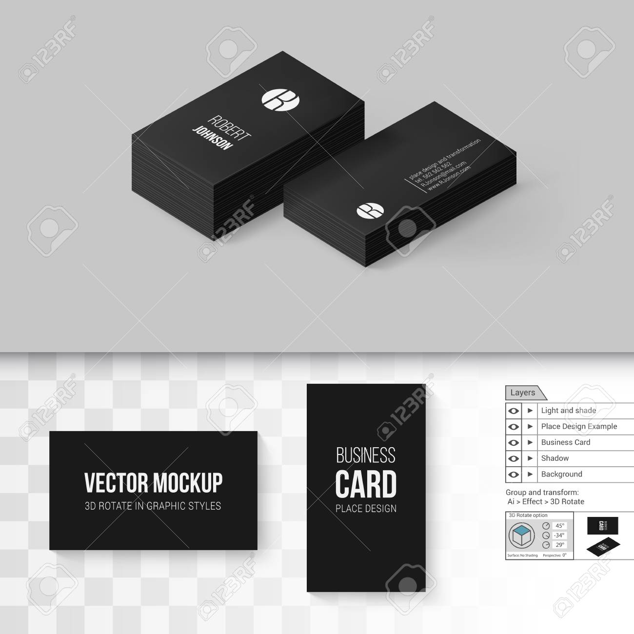 Black business cards template branding mock up with 3d rotate black business cards template branding mock up with 3d rotate options on gray and transparent reheart Image collections