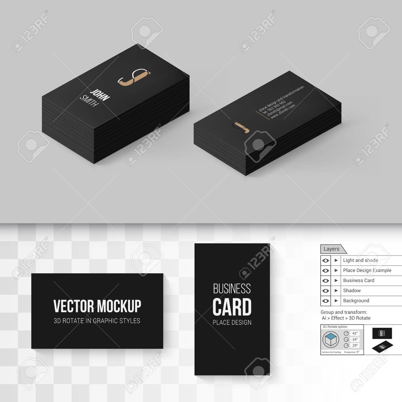 Modele De Cartes Visite Noir Branding Maquette Avec Des Options