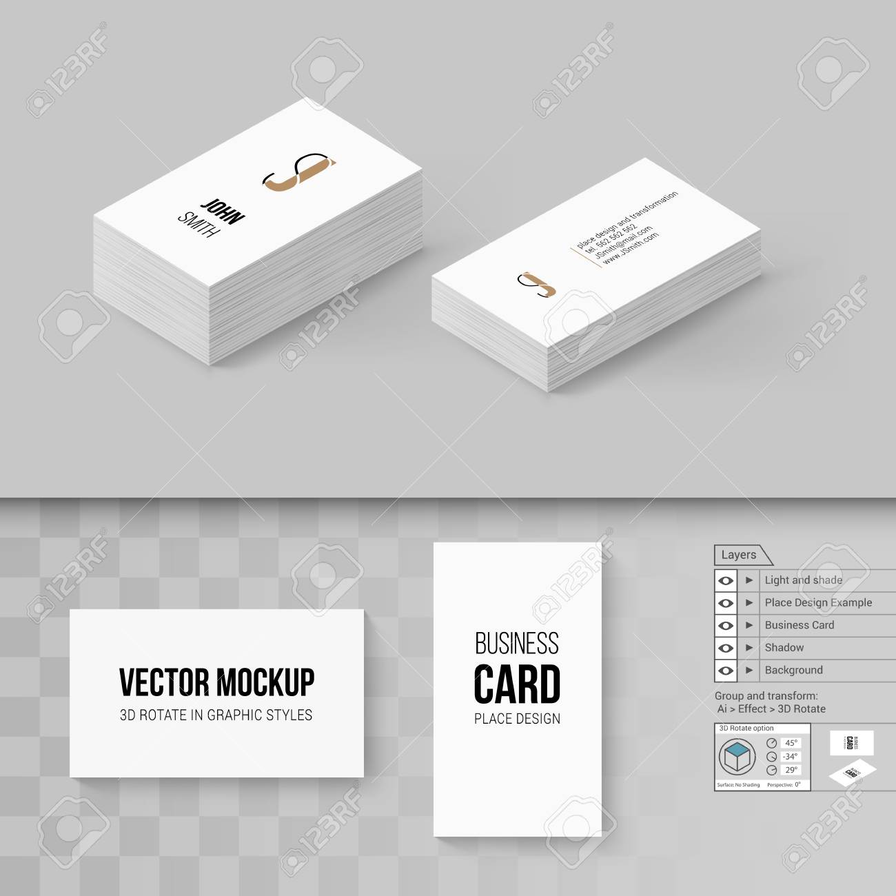 Wite business cards template branding mock up with 3d rotate vector wite business cards template branding mock up with 3d rotate options wajeb Gallery