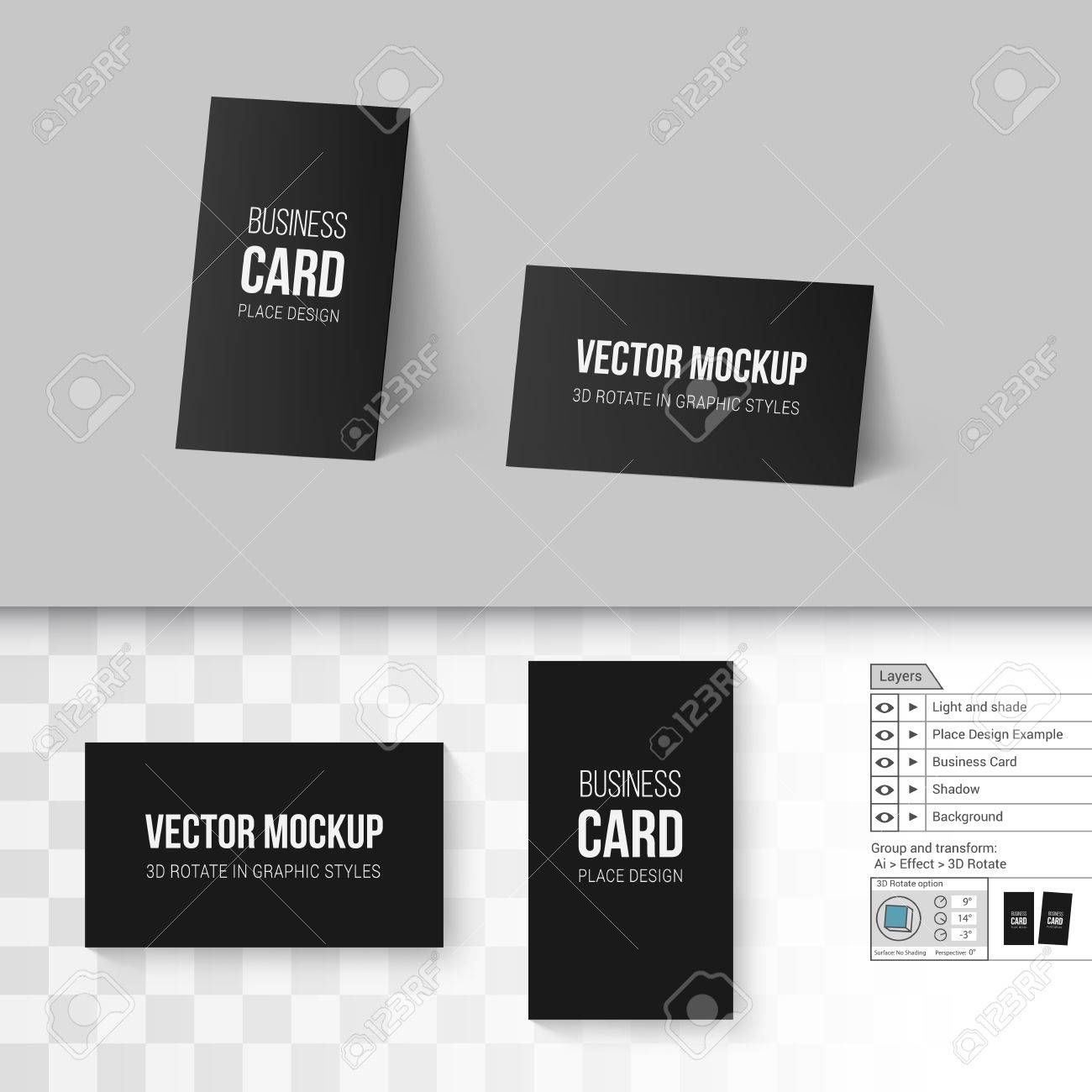 Black Business Cards Template Corporate Identity Branding Mock Up With 3D Rotate Options On