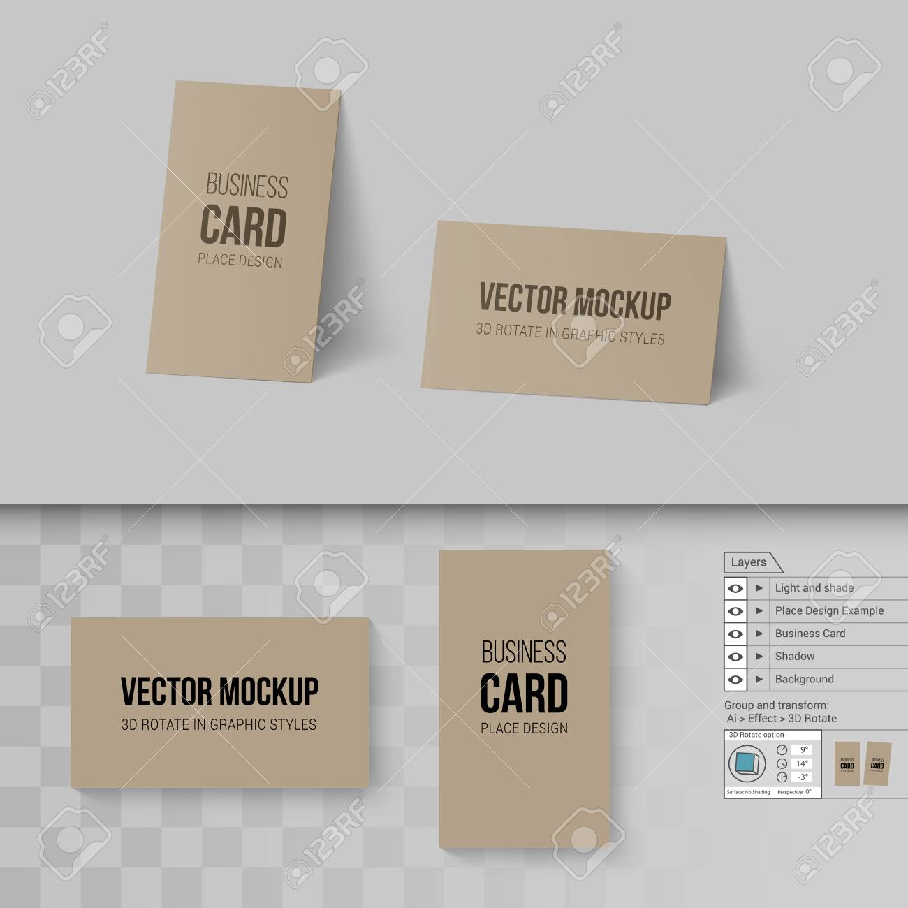 Brown Business Cards Template. Mock Up With 21D Rotate Options On Throughout Transparent Business Cards Template