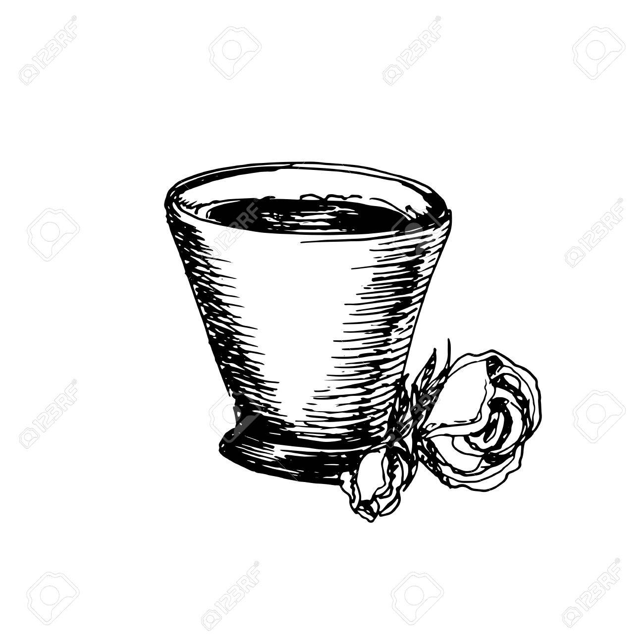 Coffee cup sketch - Hand Drawn Vintage Sketch Of Coffee Cup Great For Banner Label And Poster Stock