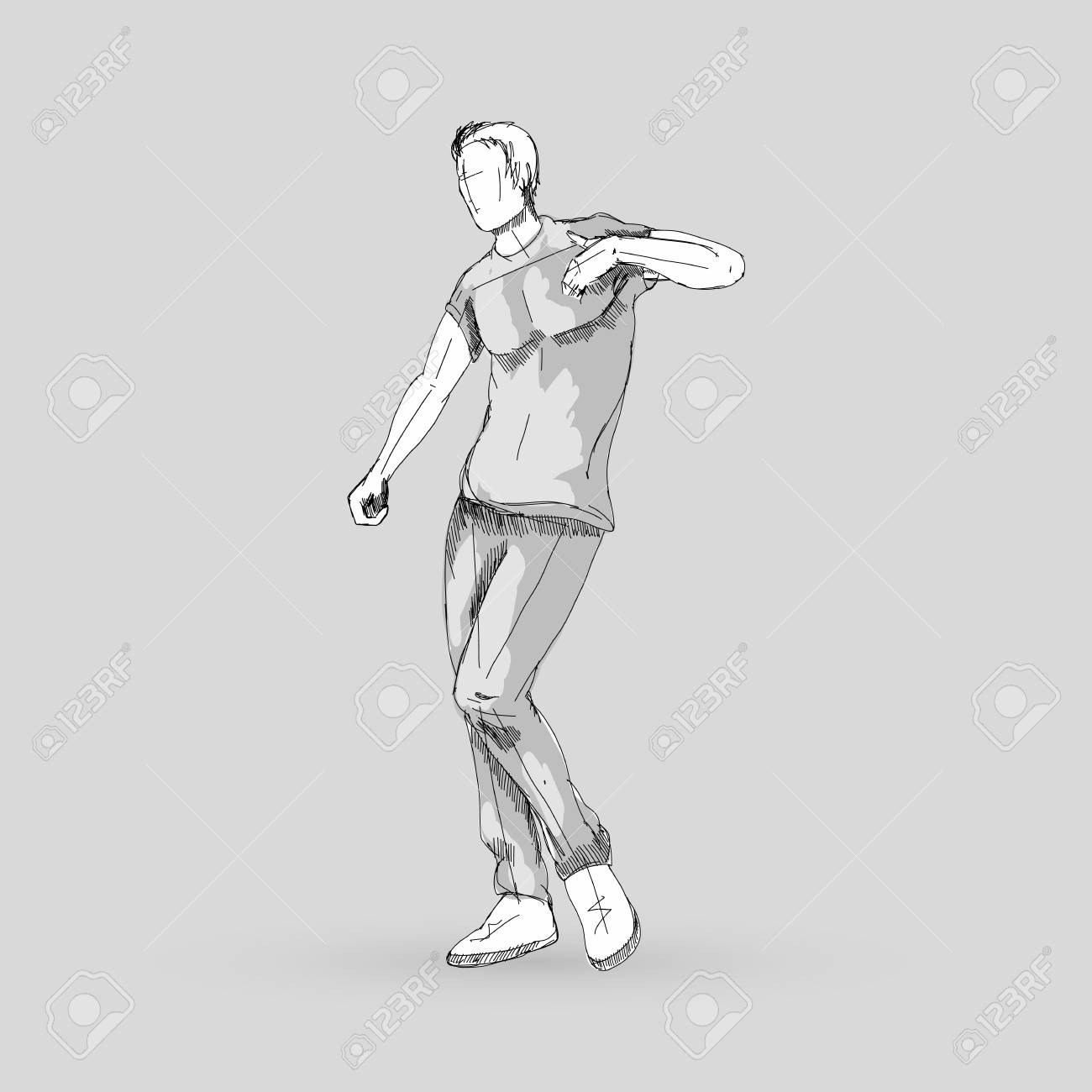Modern Style Dancer Posing Sketch Of A Man Hip Hop Choreography On Gray Stock