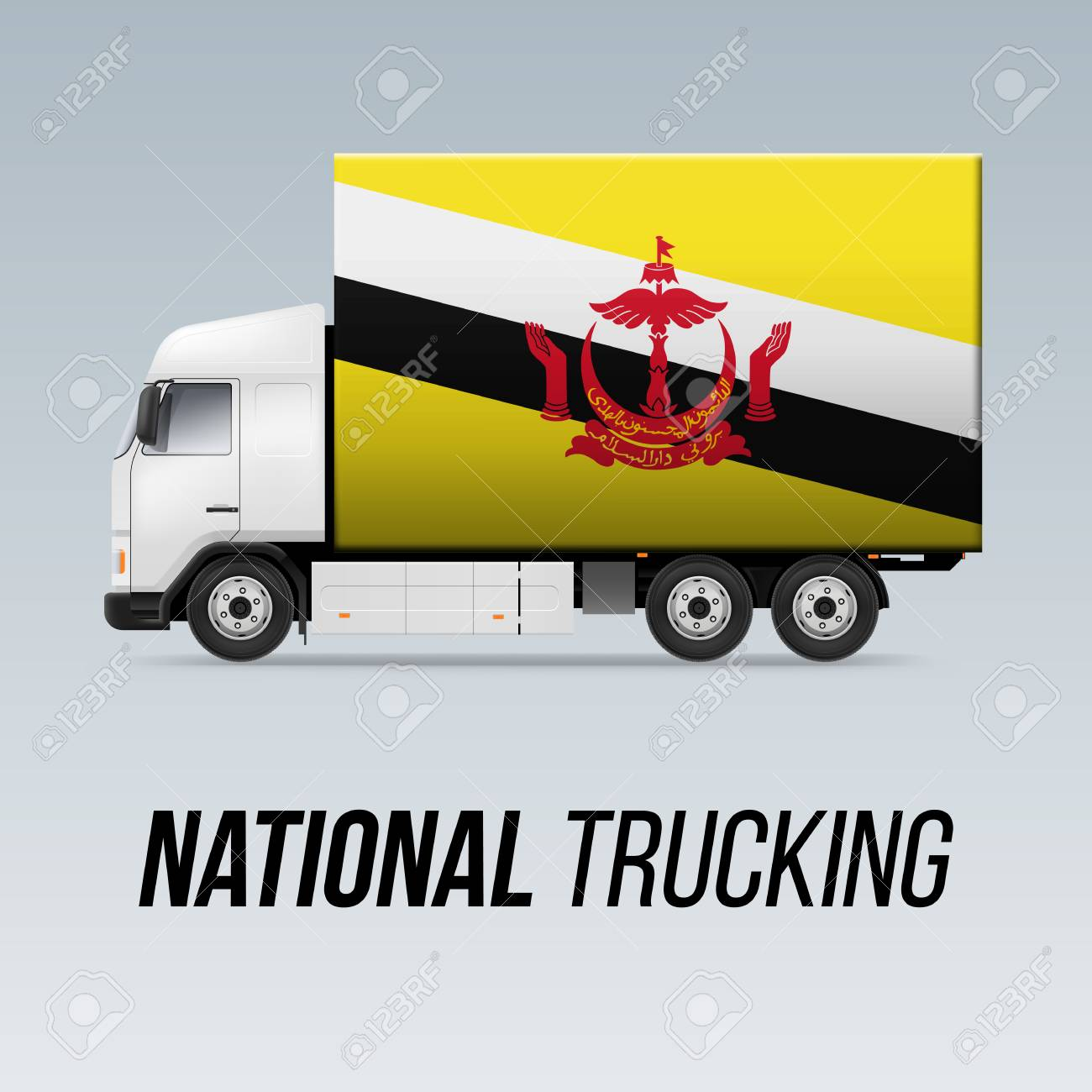Symbol Of National Delivery Truck With Flag Of Brunei National