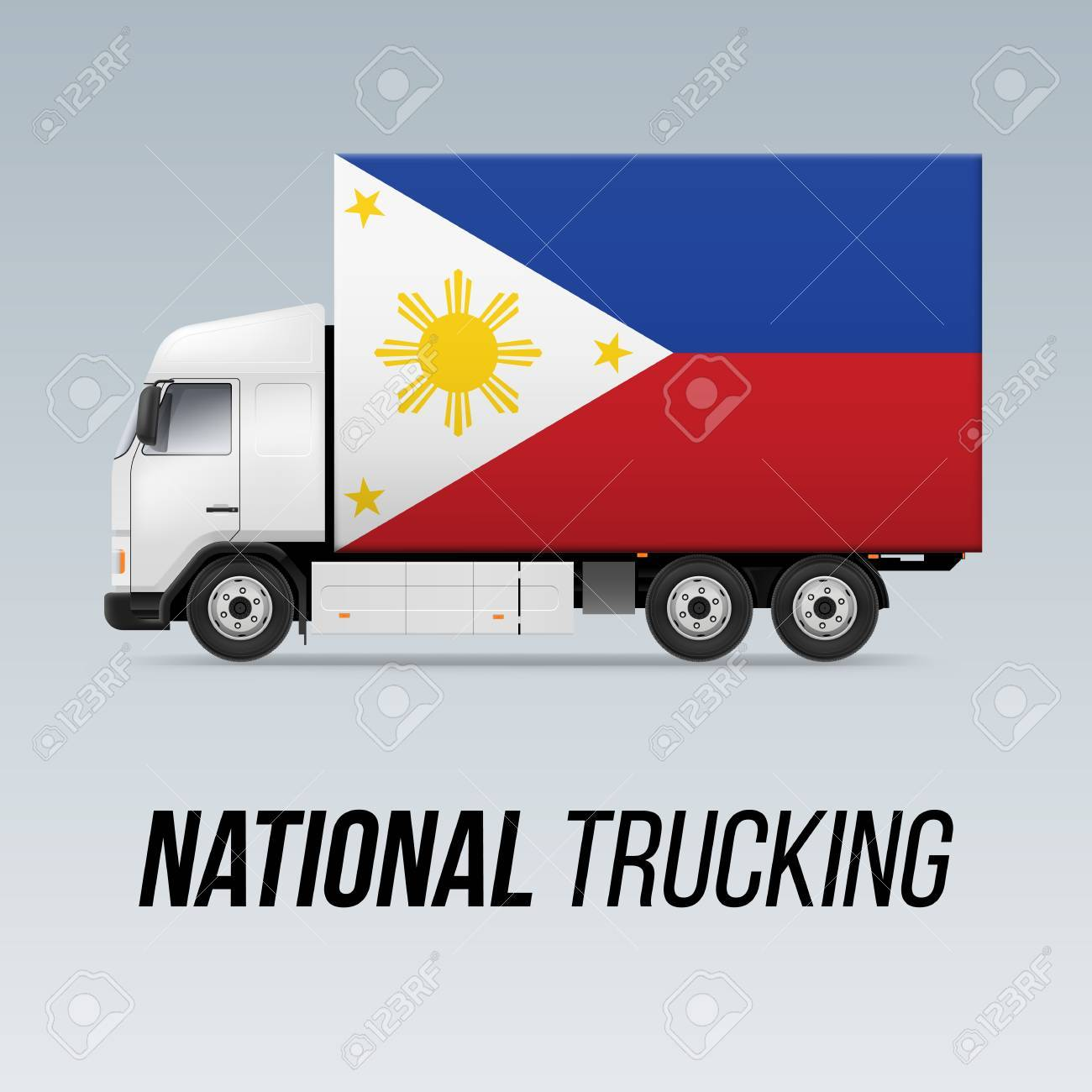 Symbol of national delivery truck with flag of philippines symbol of national delivery truck with flag of philippines national trucking icon and filipino flag buycottarizona Images