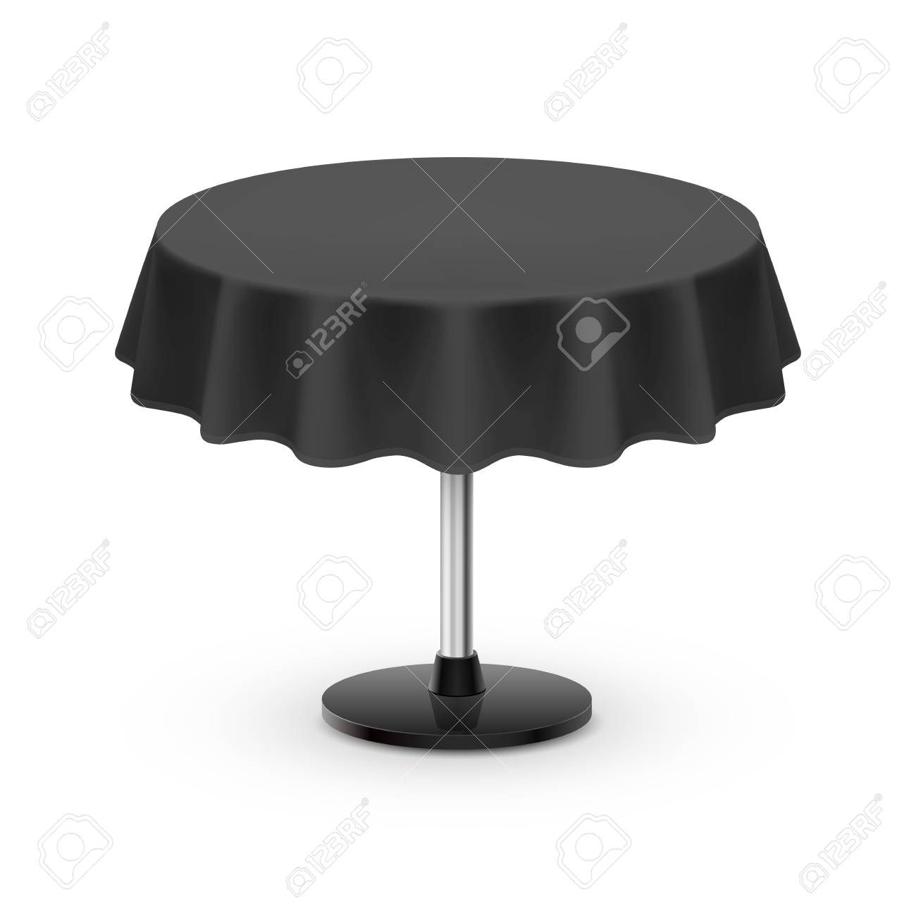 Round Table With Tablecloth.Isolated Blank Round Table With Tablecloth In Black Color On