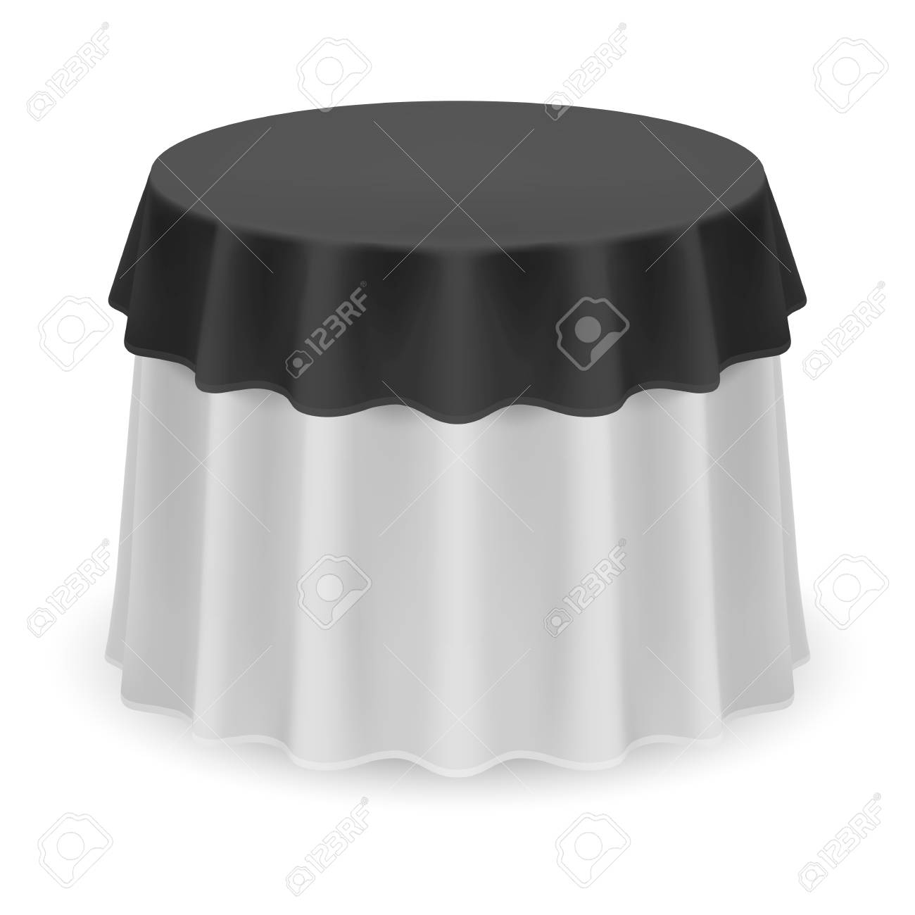 Round Table With Tablecloth.Isolated Blank Round Table With Tablecloth In Black And White
