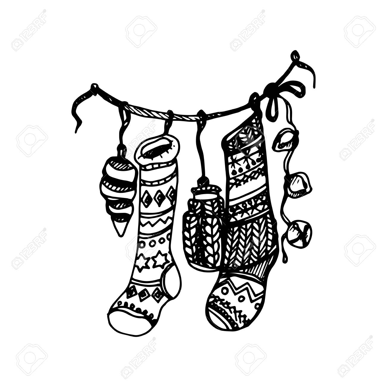 Drawings Of Christmas Stockings.Hand Drawing Artistic Doodle Icon Christmas Stocking Balls On