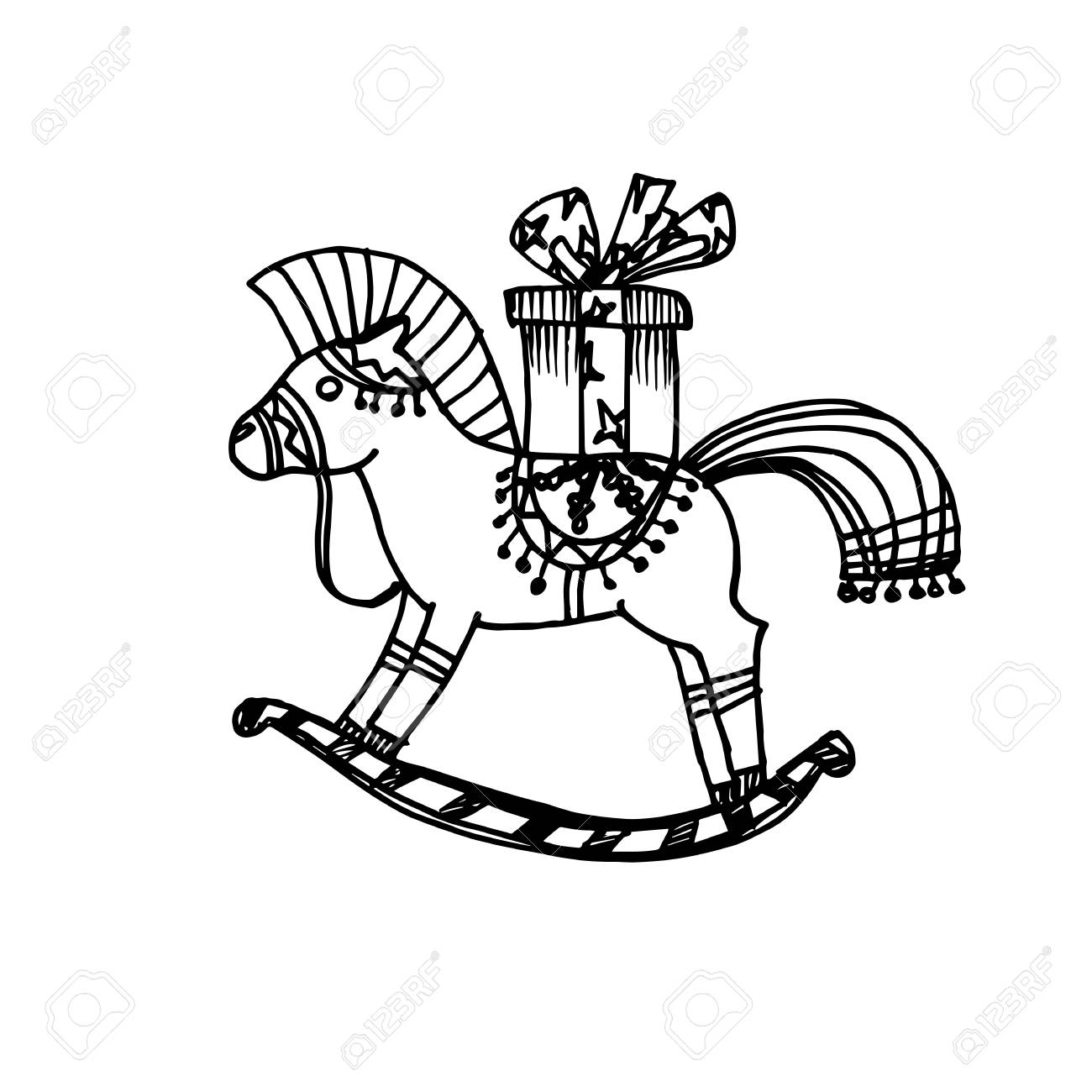 Christmas Horse Drawing.Black Mono Color Illustration For Merry Christmas And Happy New