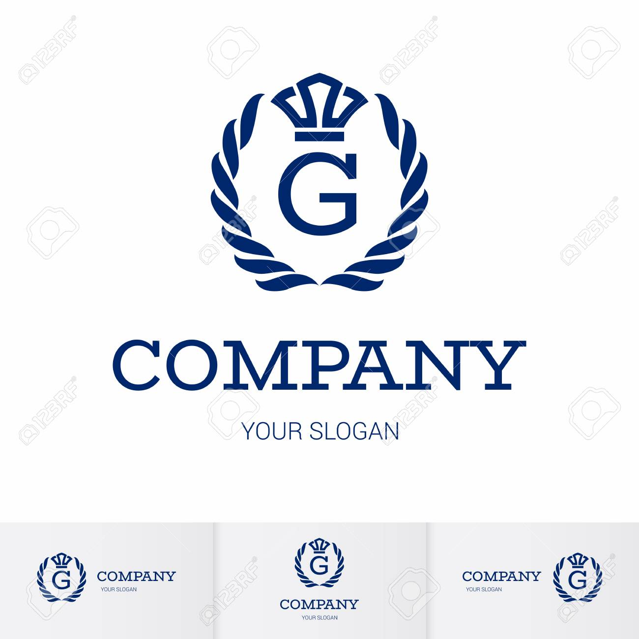 Illustration of Luxury Vintage Crest Logo with letter G in the Middle and Luxury Crown. Calligraphic Royal Emblems and Elements Logo Icon Template on White Background - 120930969