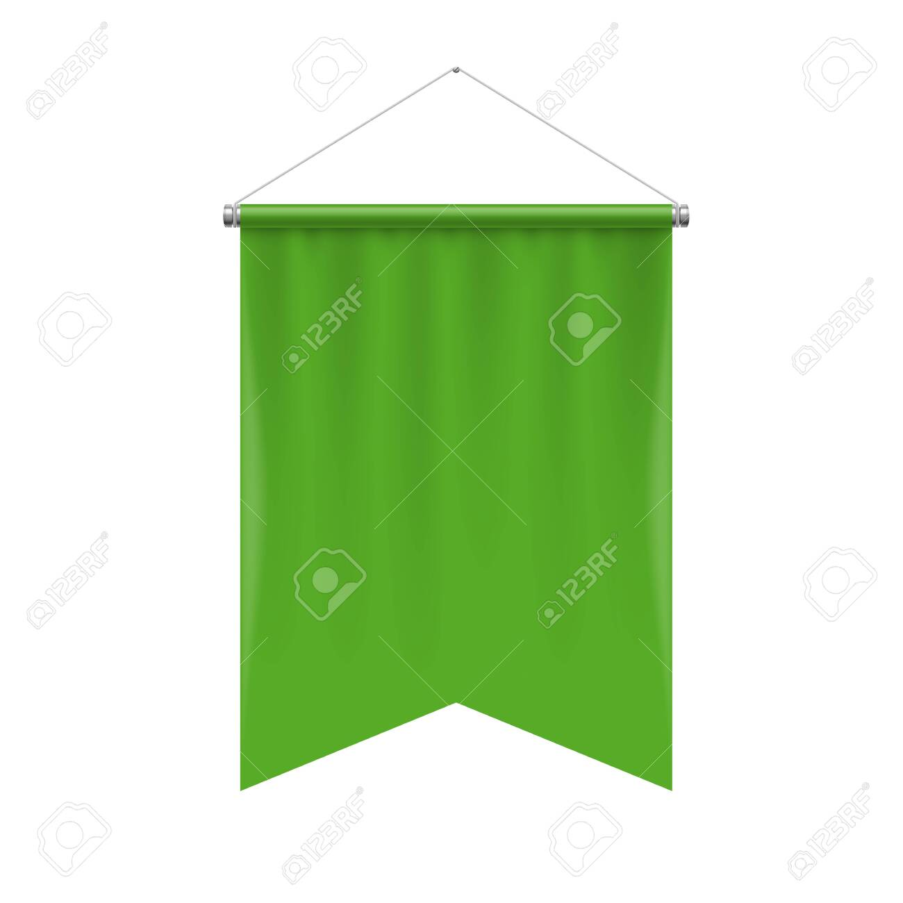Gonfalon Fishtail Bottom Vertical Green Flag Banner On A White Royalty Free Cliparts Vectors And Stock Illustration Image 123621479