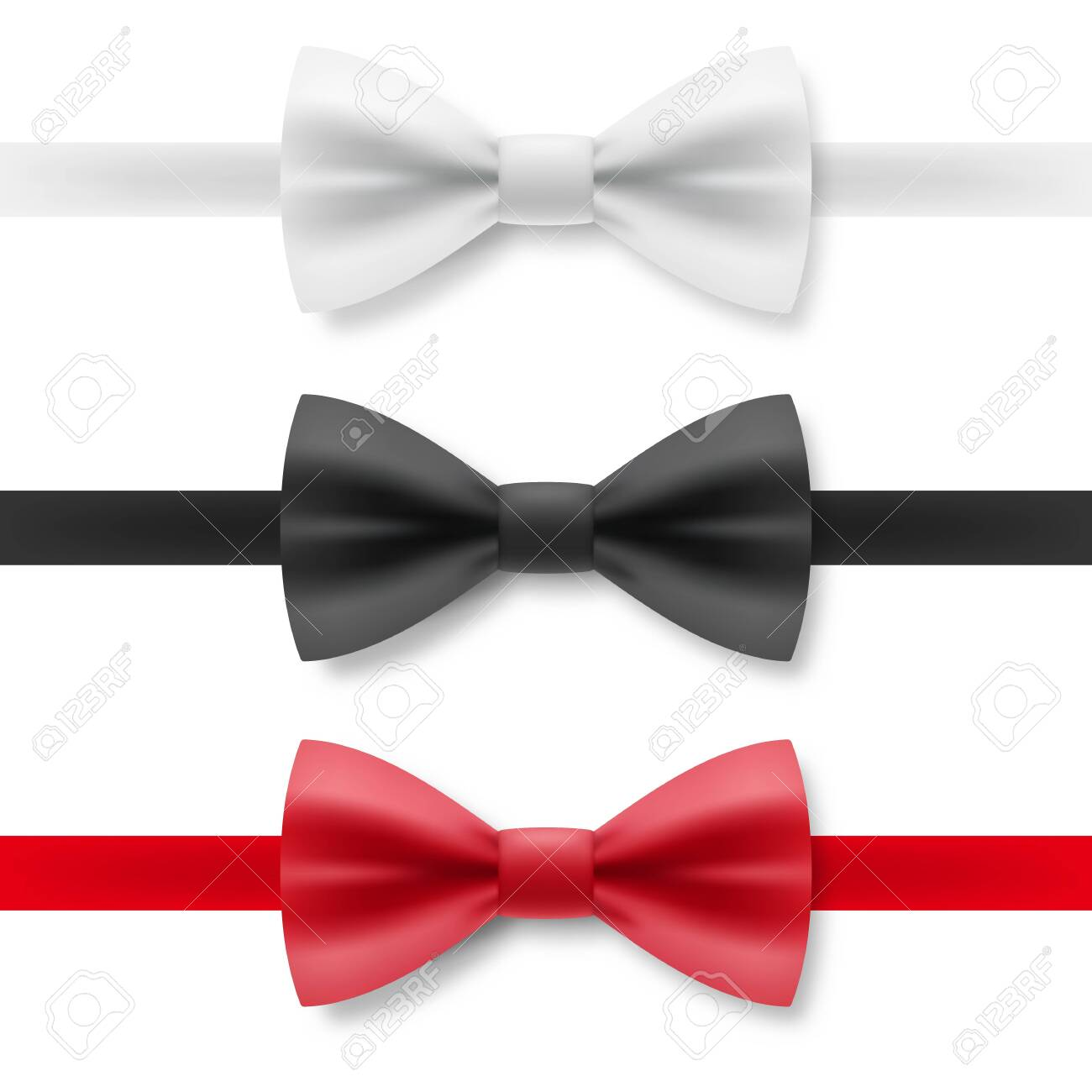 White, Black and Red Bow Tie From Satin Material. Realistic Formal Wear for Gentleman Smoking Bow Tie Garment Accessory on White Background - 135537881