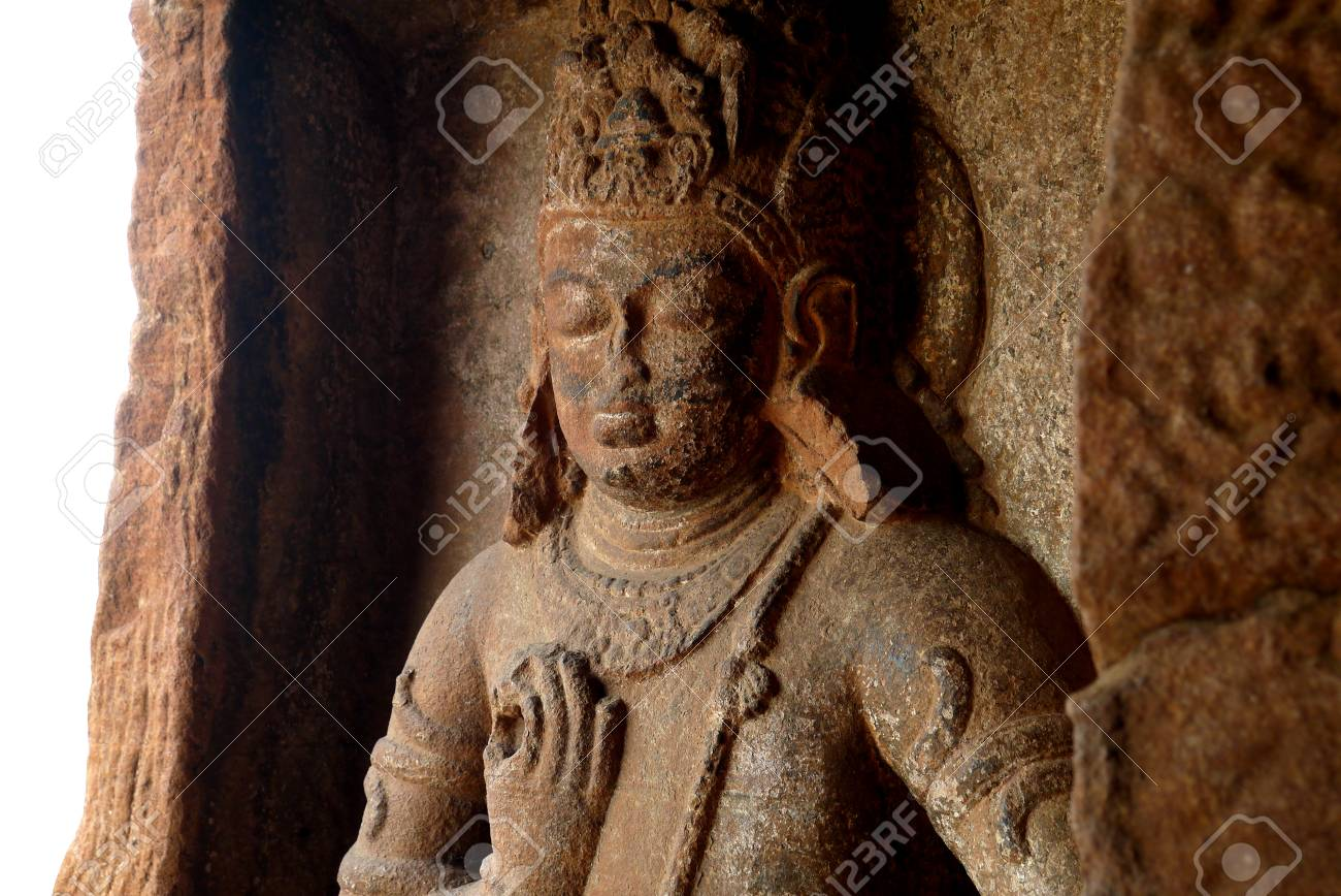The bas-reliefs decorating walls and columns of the Indian rocky..